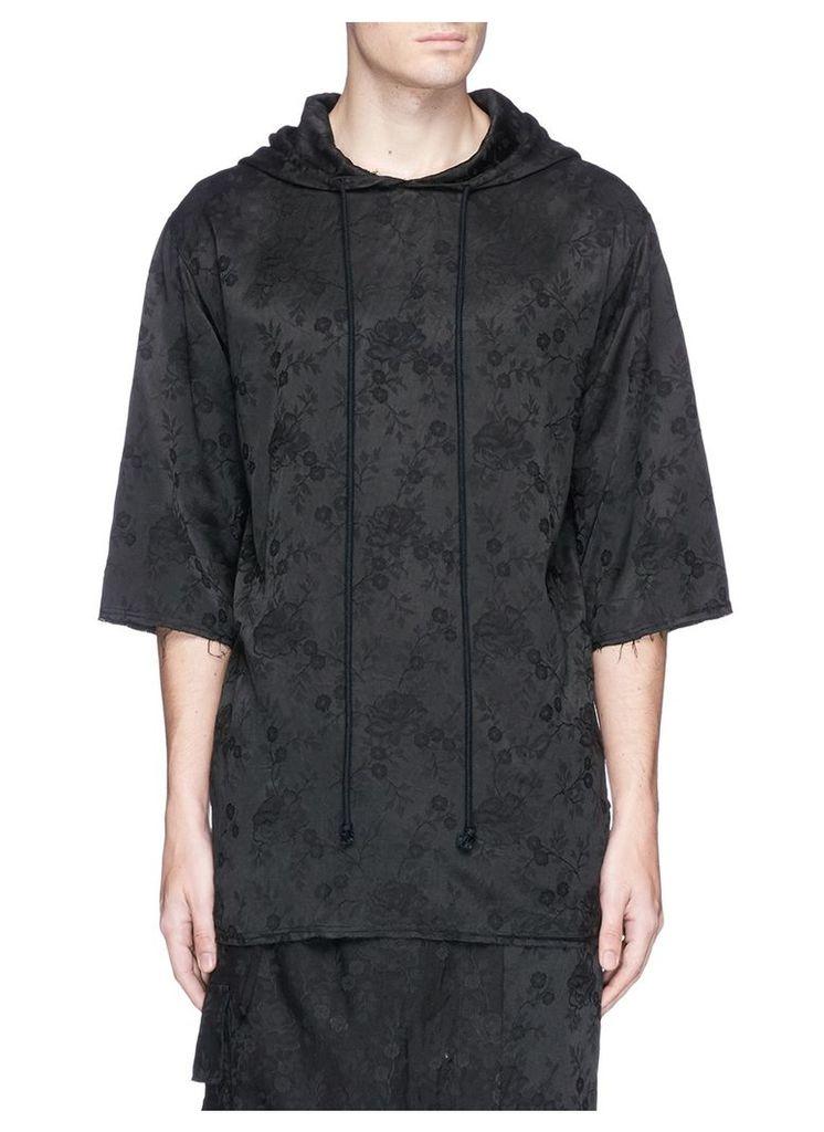 Floral jacquard drawstring hoodie