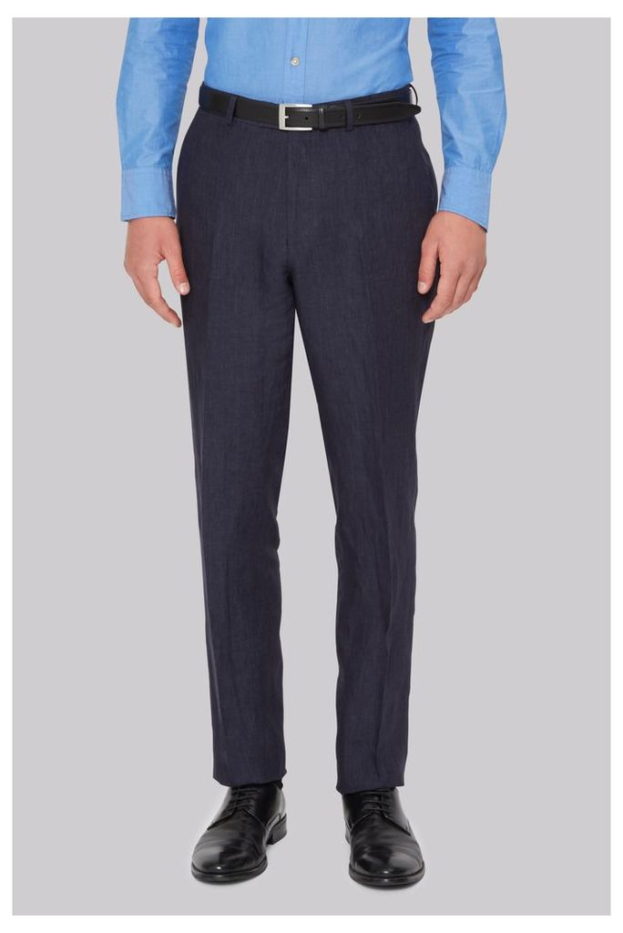 Hardy Amies Navy Linen Trousers