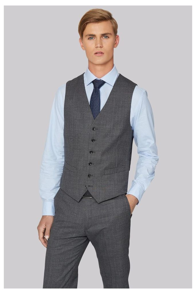 Hardy Amies Tailored Fit Charcoal Melange Waistcoat