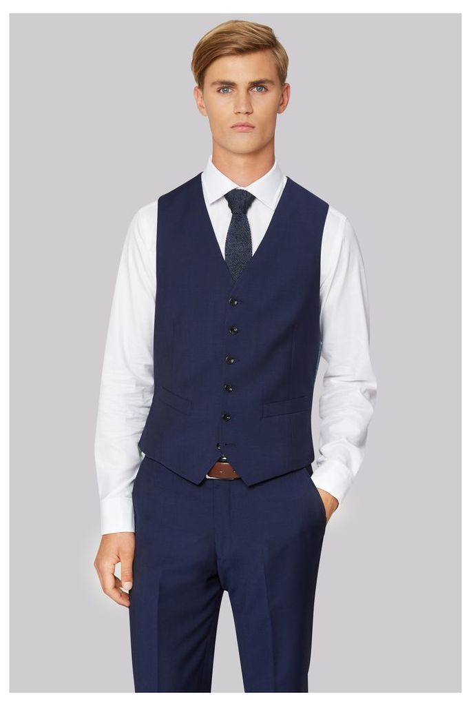 Hardy Amies Tailored Fit Blue Waistcoat