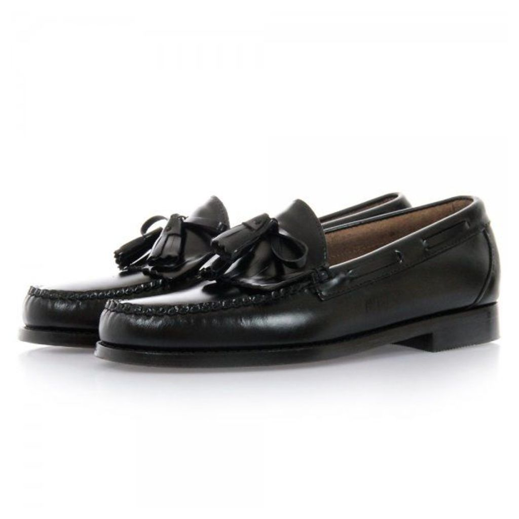 Bass Weejuns Layton Black Moc Kiltie Leather Loafer Shoes BA11020