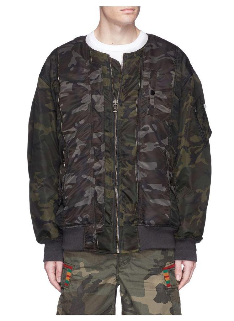 Camouflage print oversized padded MA-1 bomber jacket