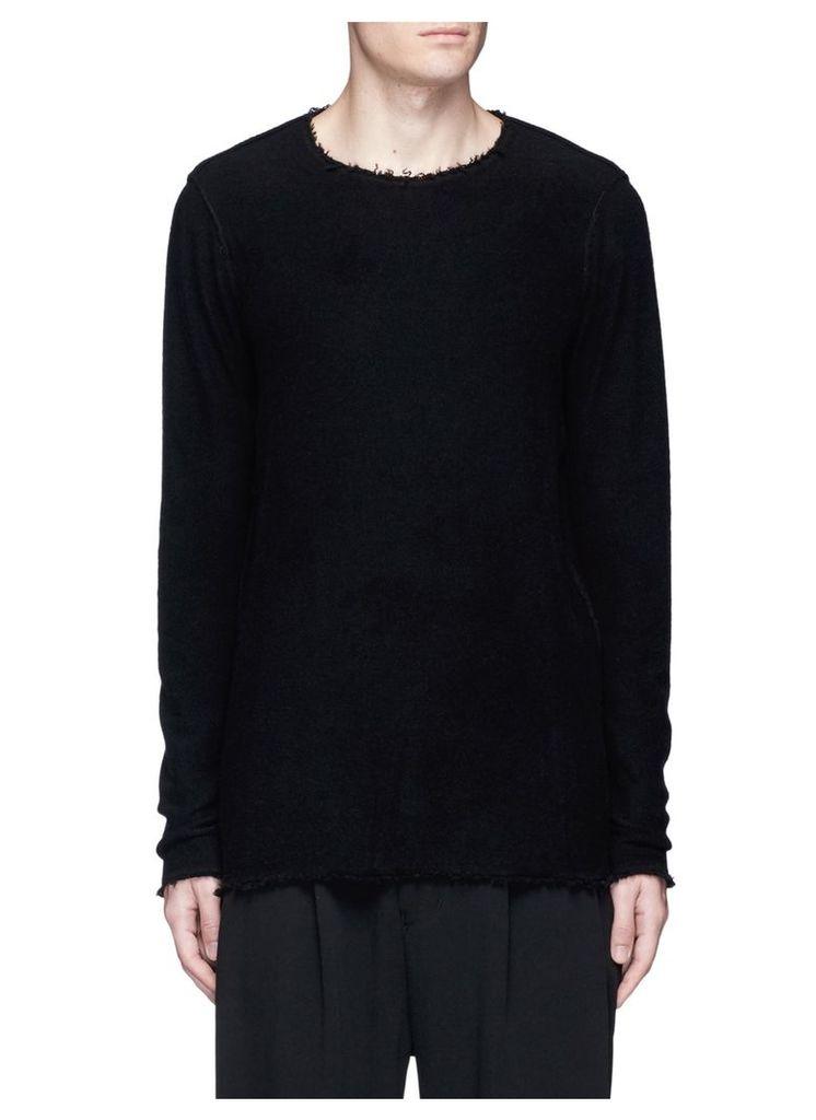 Graphic intarsia raw edge cashmere sweater