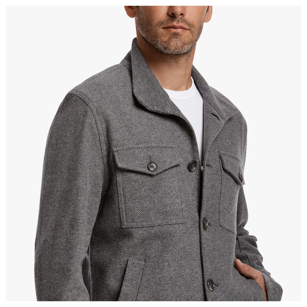 BRUSHED TWILL BUTTON JACKET