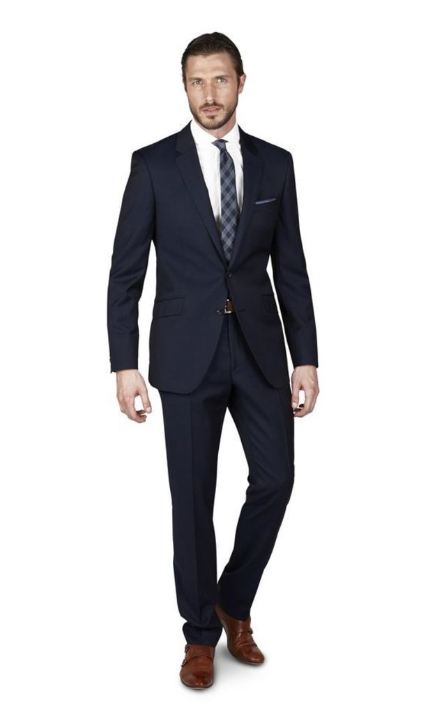 Halliday Blue Two-Colour Twill 2-Button Slim Fit Suit