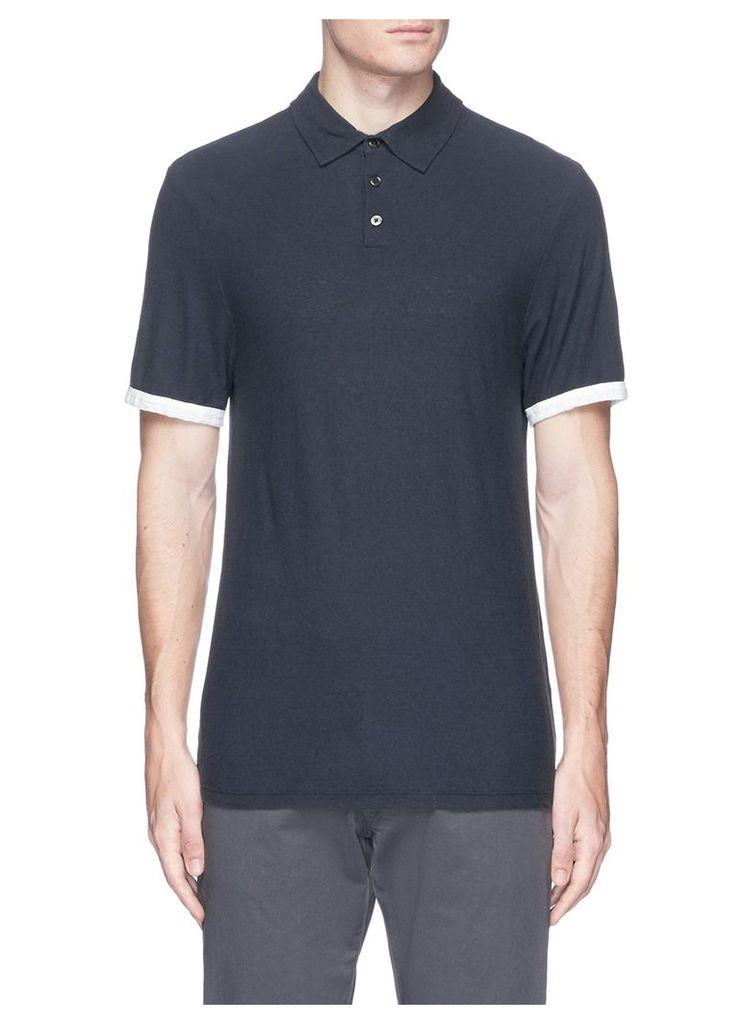 Colourblock cuff slub cotton-linen polo shirt