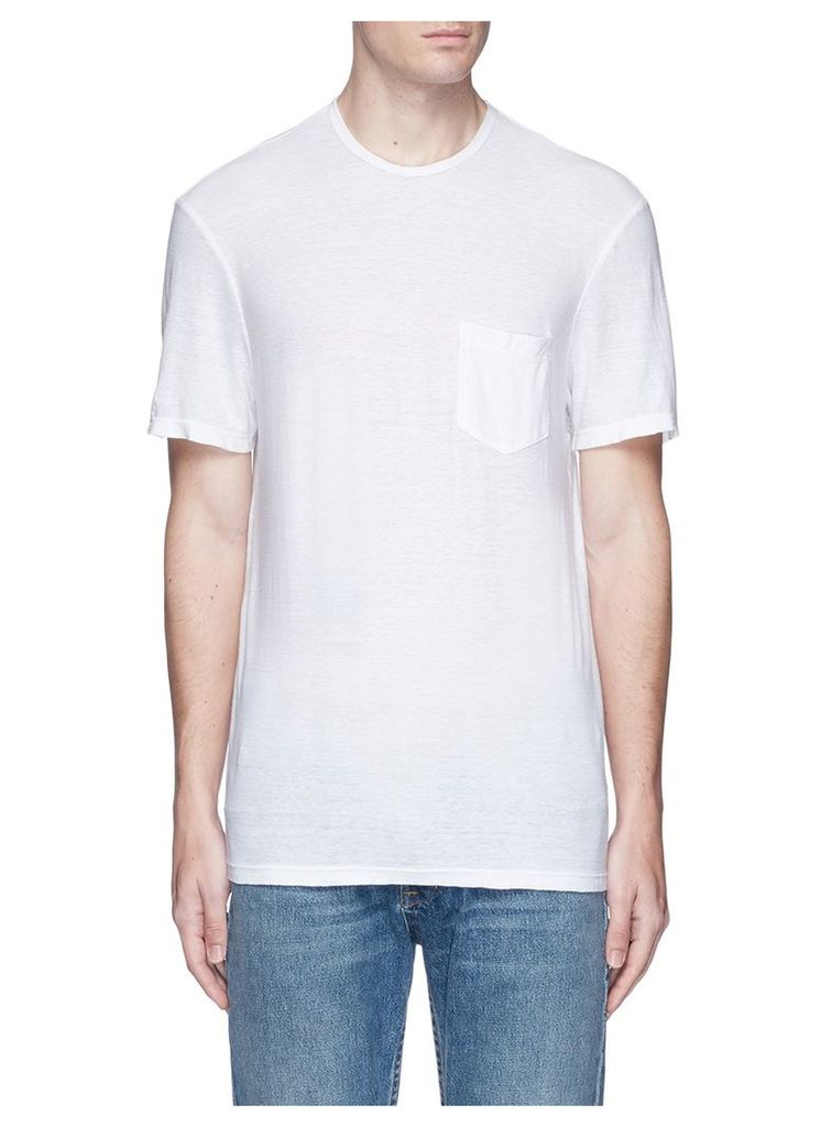 Palm tree print slub cotton-linen T-shirt