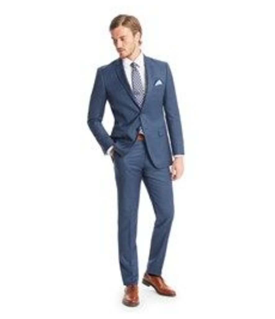 Men's Blue Double Check Slim Fit Suit - Super 120s Wool