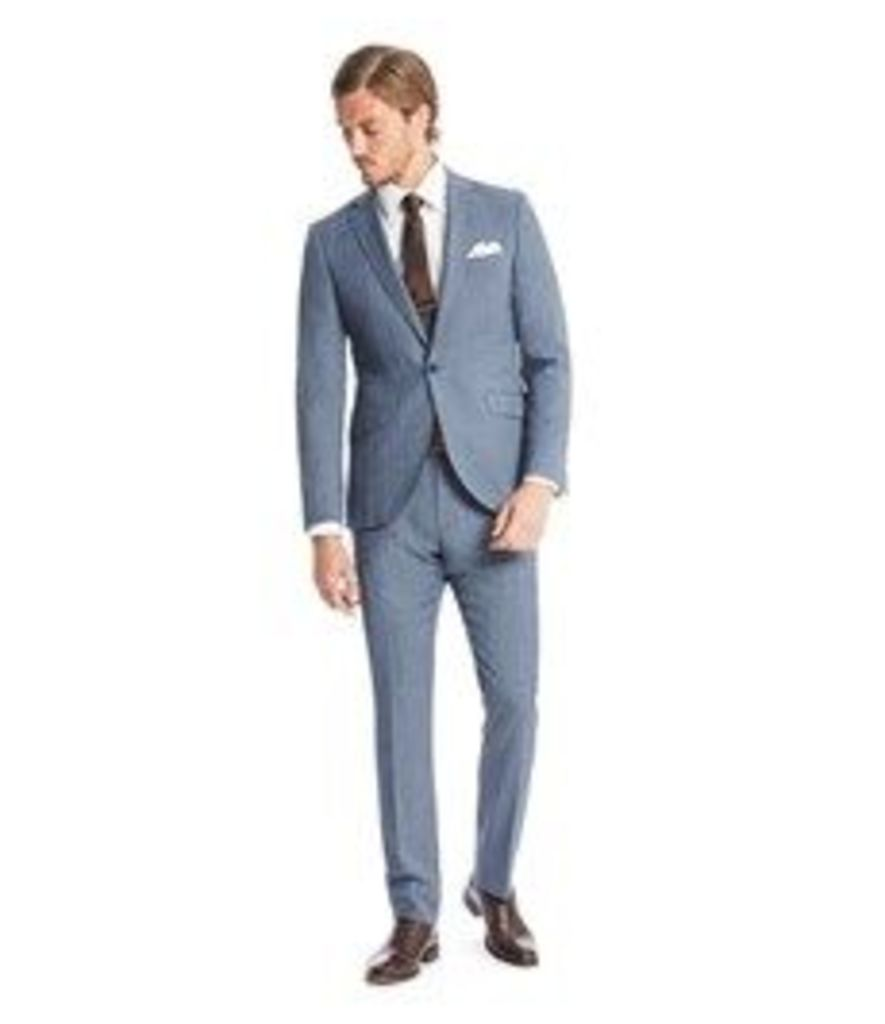 Men's Light Blue Prince Of Wales Check Extra Slim Fit Suit - Super 120s Wool