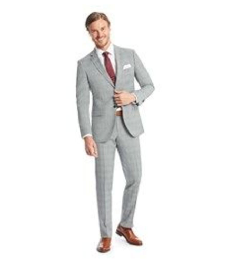 Men's Grey & Light Blue Prince Of Wales Check Slim Fit Suit - Super 120s Wool
