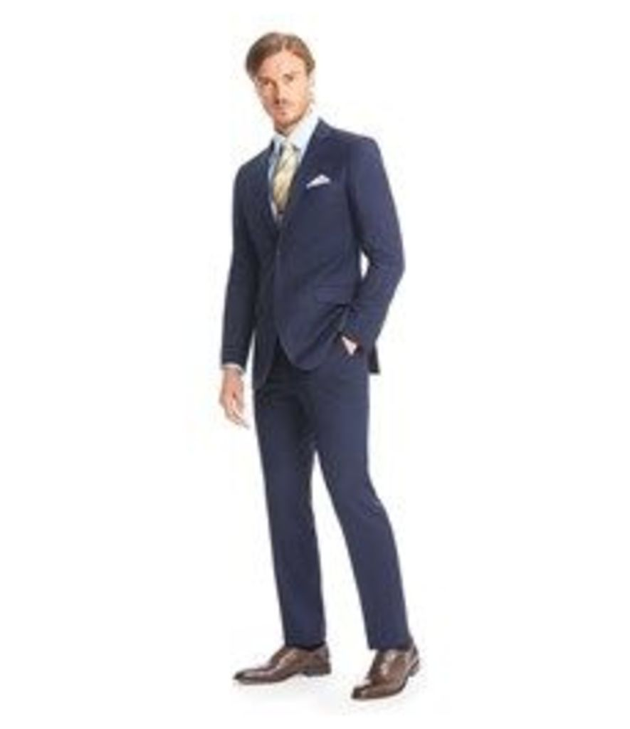 Men's Navy Textured  Slim Fit Suit - Super 120s Wool