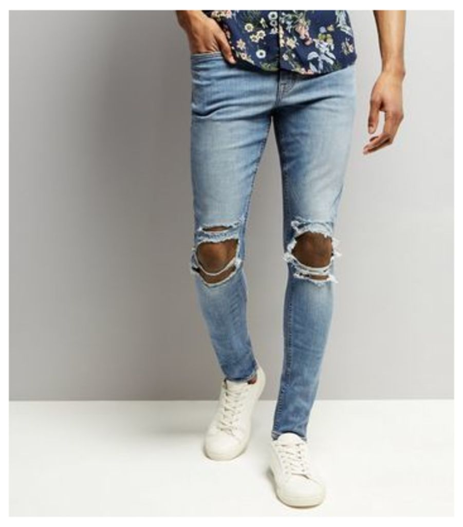 Pale Blue Light Wash Ripped Knee Super Skinny Jeans