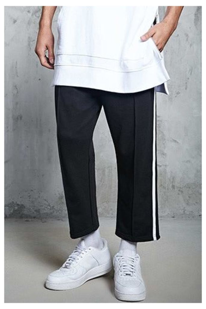 Stripe-Side Cropped Joggers