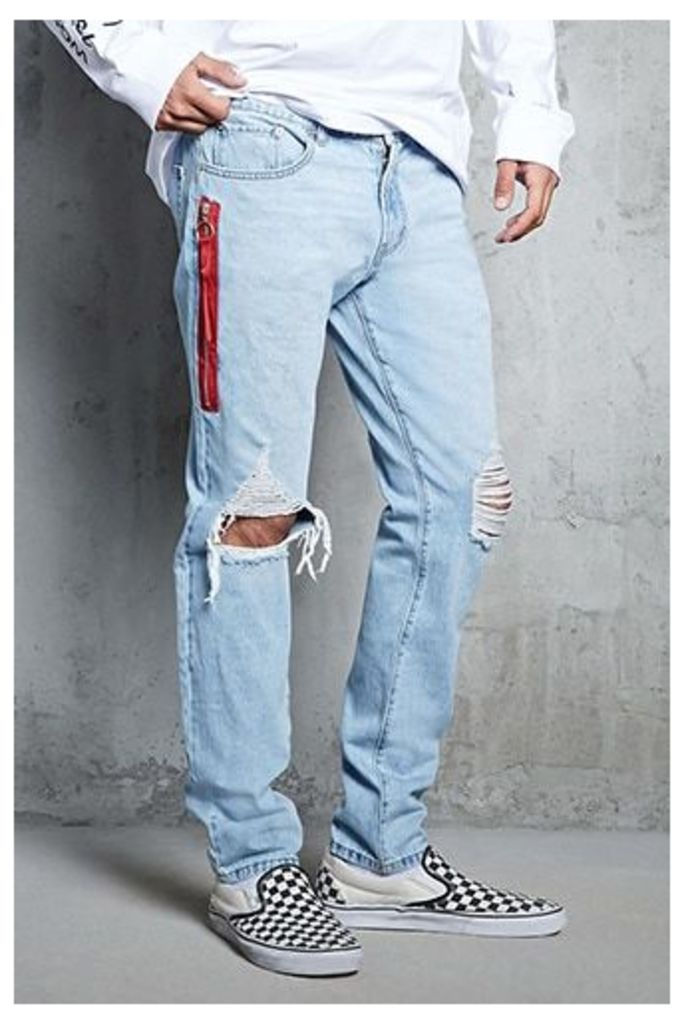 Side Zip Distressed Jeans