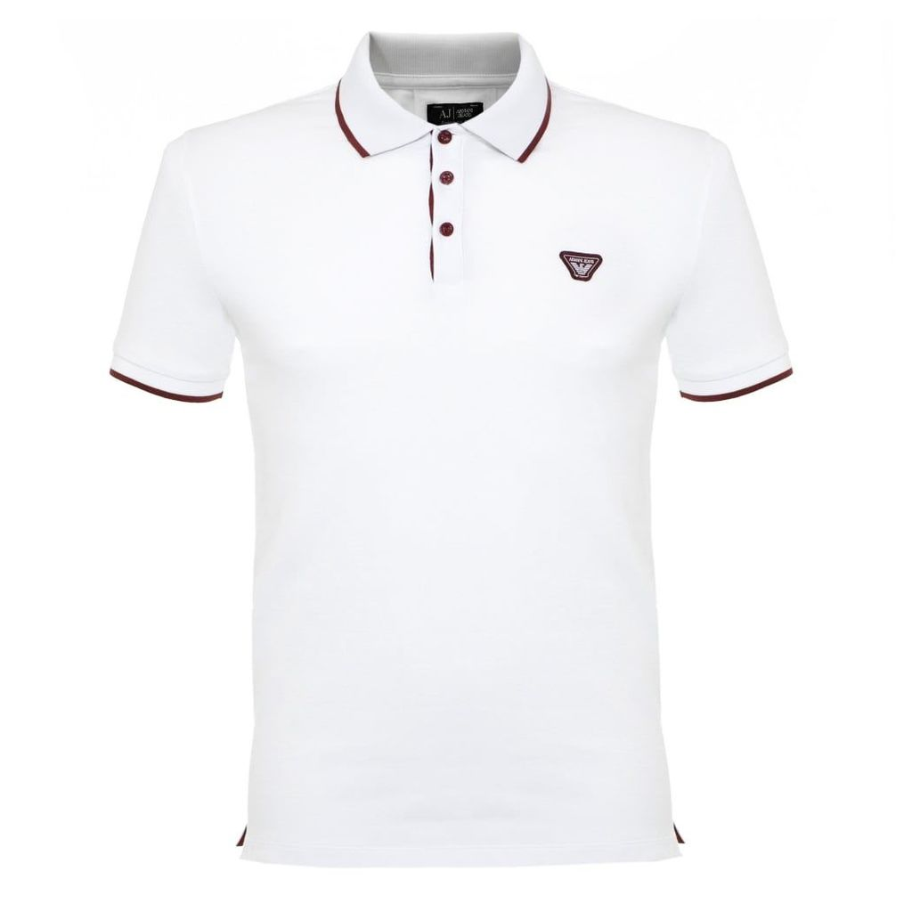 Armani Jeans Tipped Pique White Polo Shirt 6X6F15