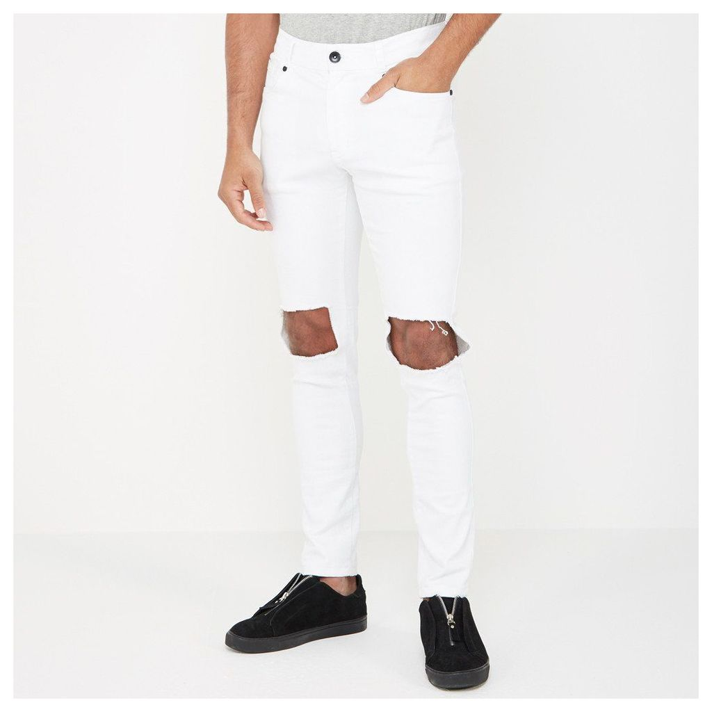 Ripped Knee Jean - White