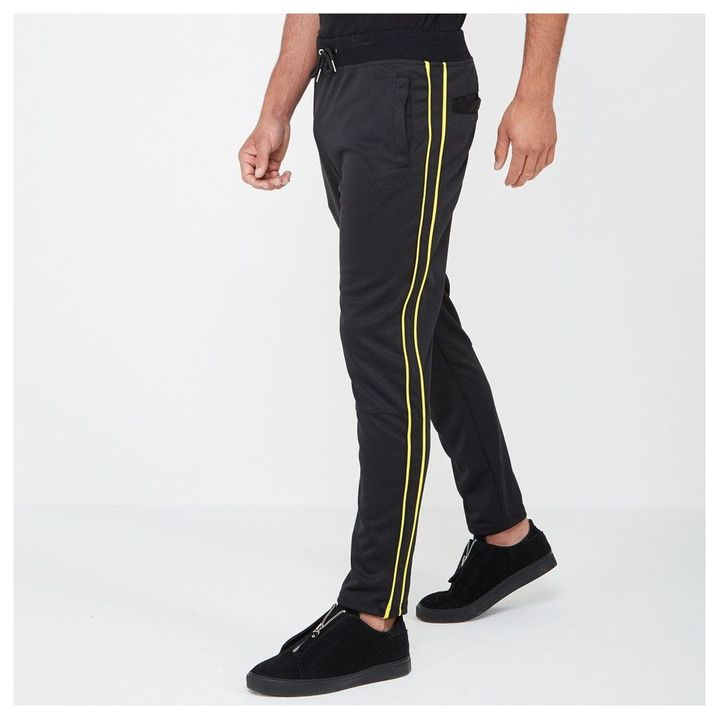 Tracksuit Bottom with Piping - Black/Yellow