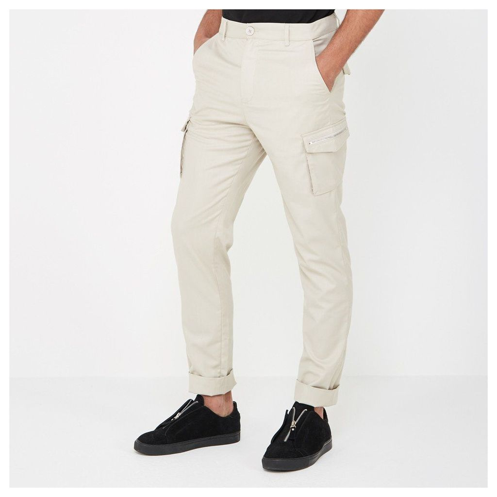 Zipper Cargo Trousers - Stone