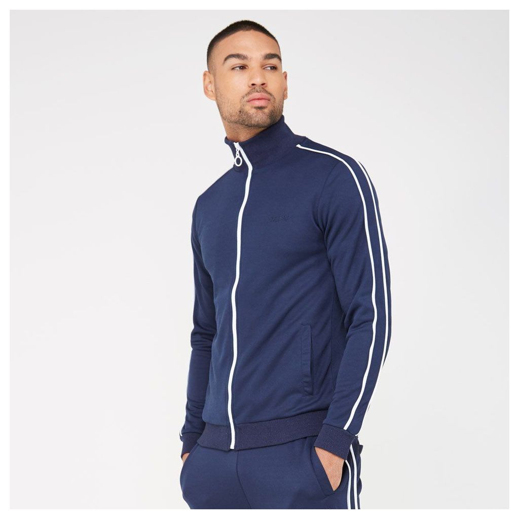 Tracksuit Jacket with Piping - Navy/White