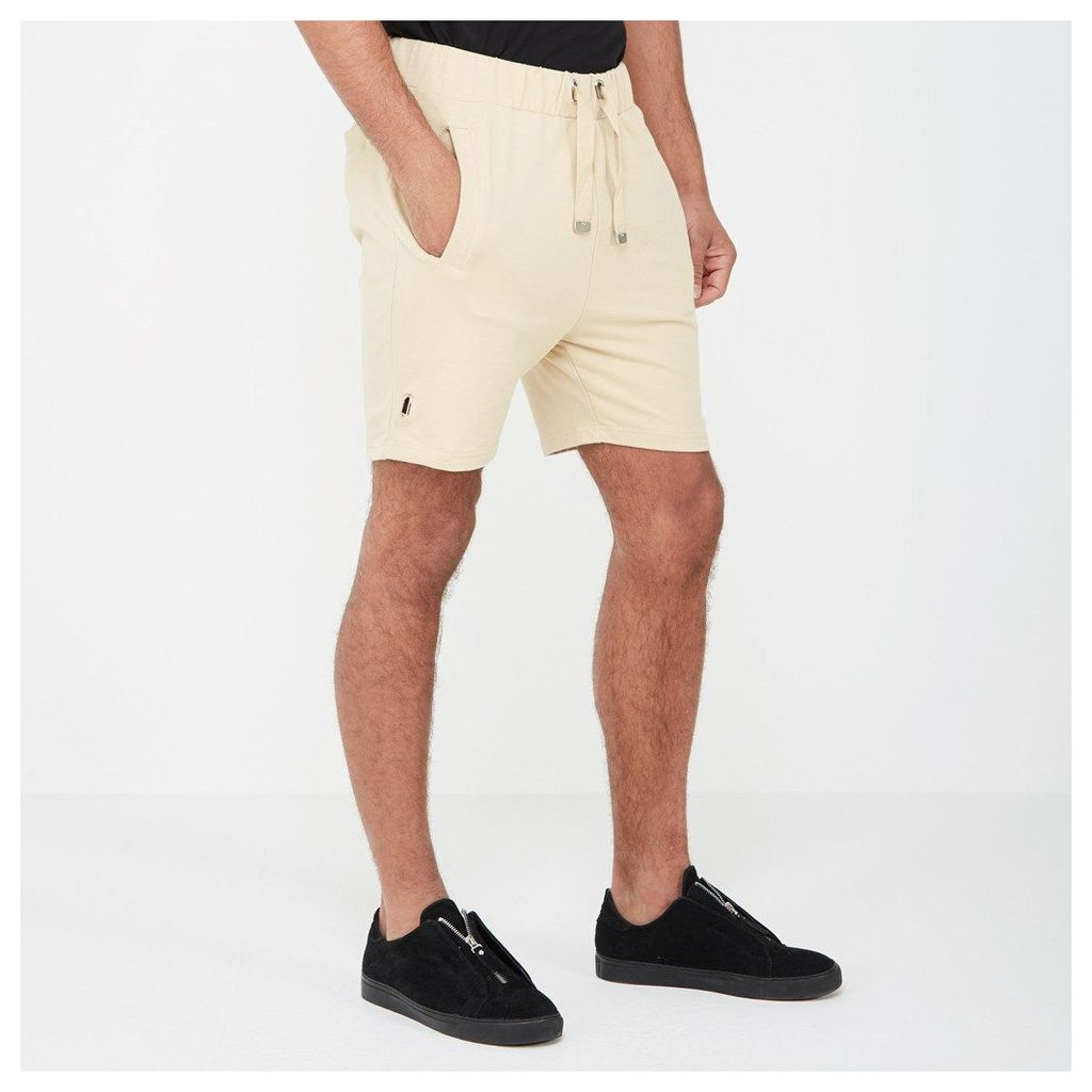 Shorts with Eyelet Detail - Beige