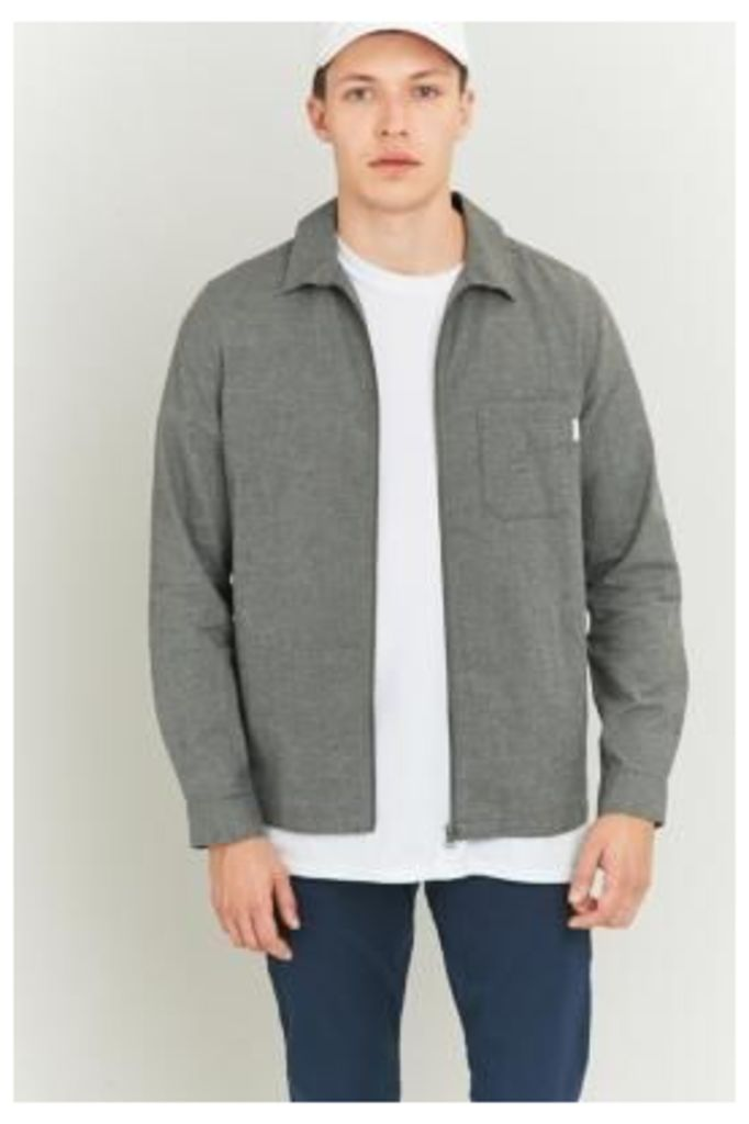 Shore Leave Blake Brushed Grey Zip Overshirt, GREY