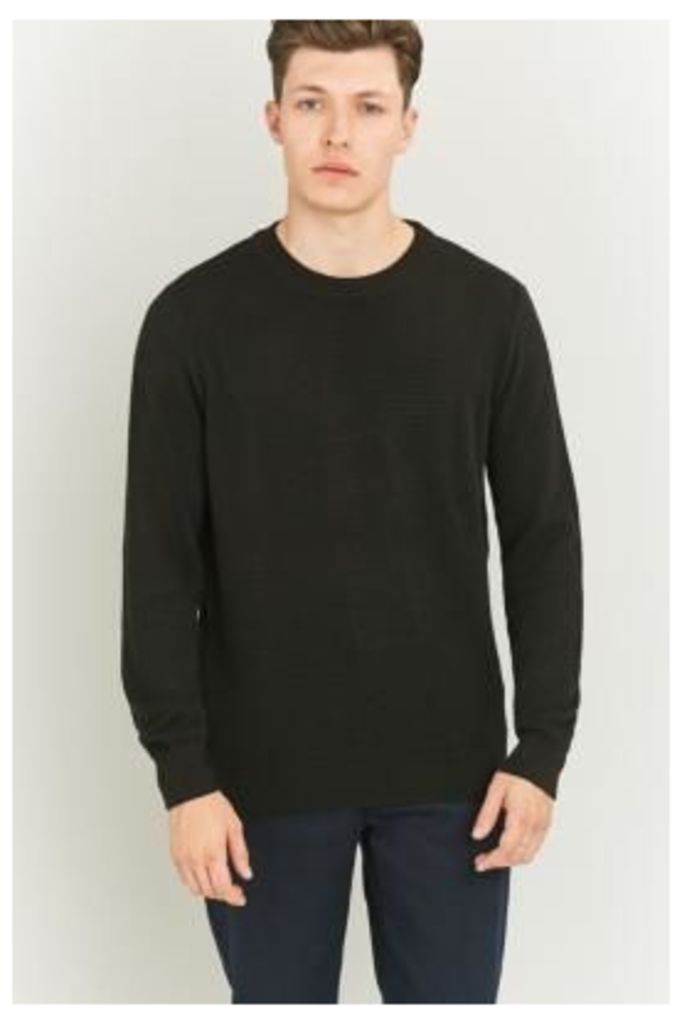 Shore Leave Black Textured Crewneck Jumper, BLACK