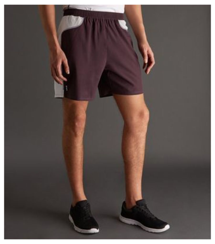 Burgundy Contrast Side Running Shorts