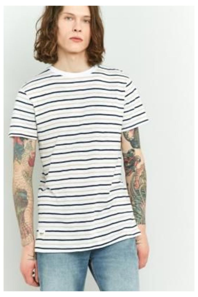 Wemoto Cope White and Peach Striped T-shirt, WHITE
