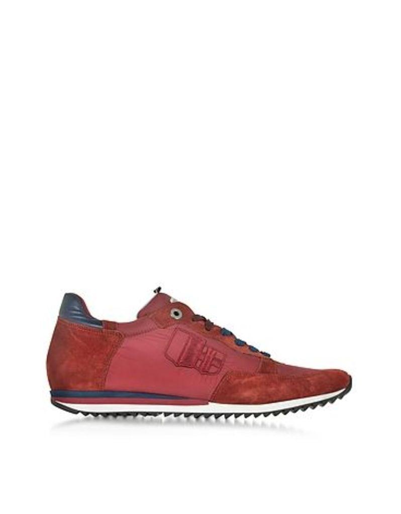D'Acquasparta - Magnifico Red Nylon and Suede Men's Sneaker