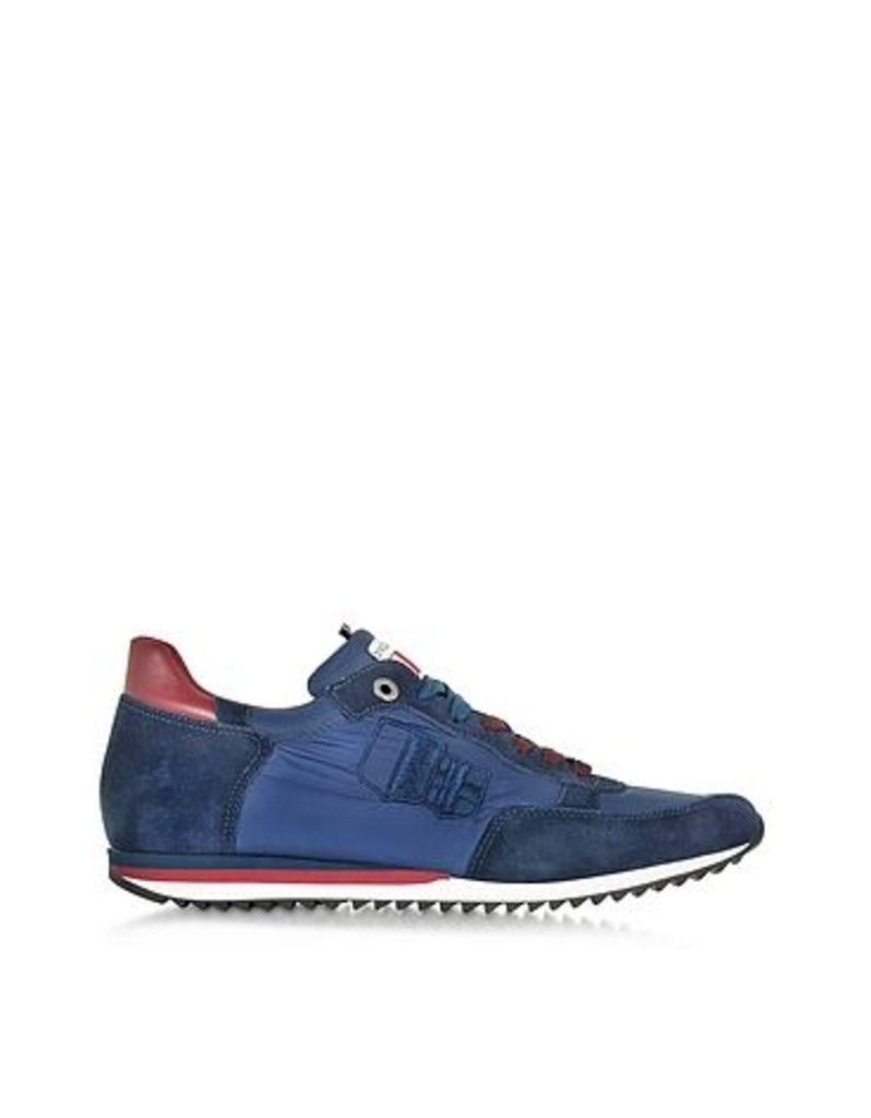 D'Acquasparta - Magnifico Blue Nylon and Suede Men's Sneaker