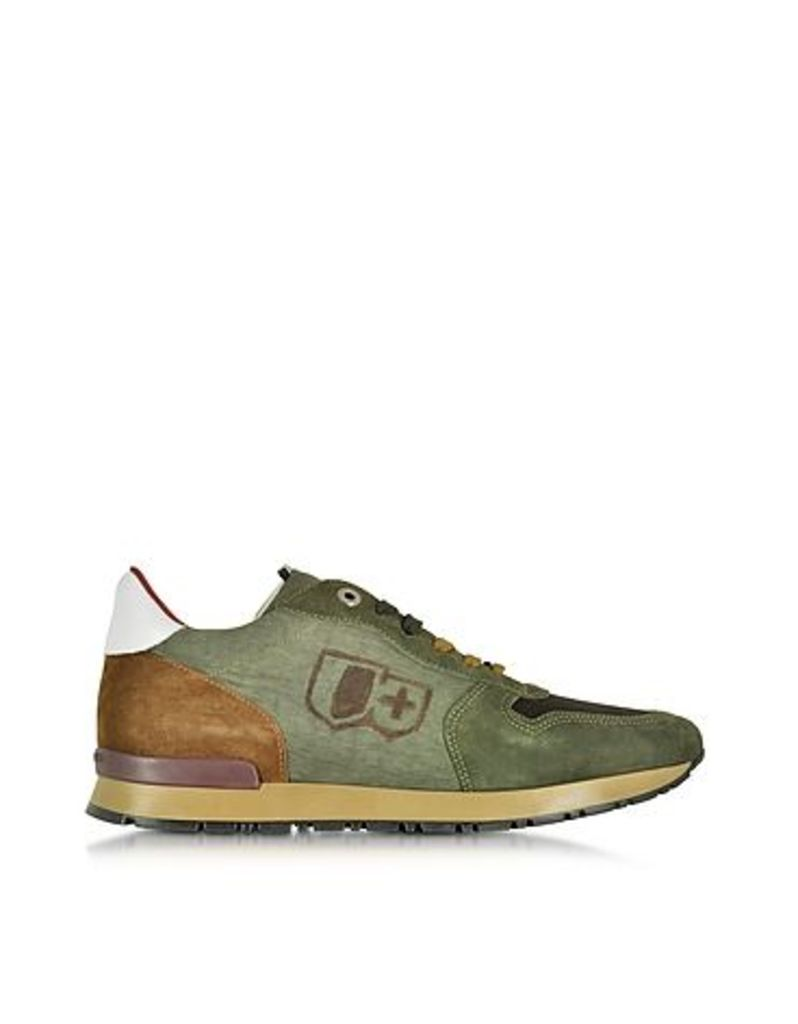 D'Acquasparta - Botticelli Forest Green Suede and Fabric Men's Sneaker
