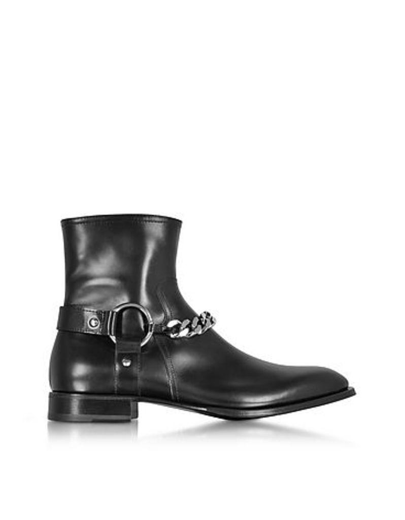 Cesare Paciotti - Black Baby Horse Boots w/Chain