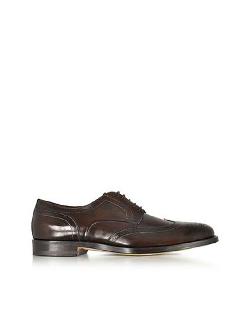 Santoni - Wilson Dark Brown Leather Wingtip Derby Shoes