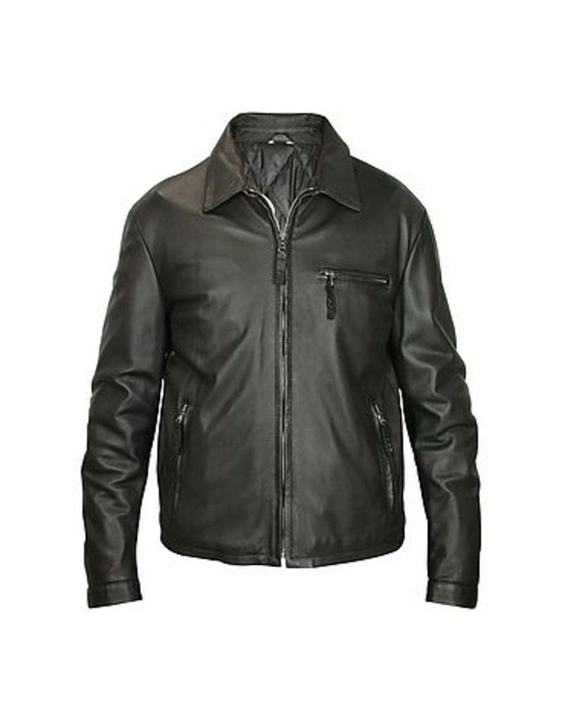 Forzieri - Men's Black Leather Zip Jacket
