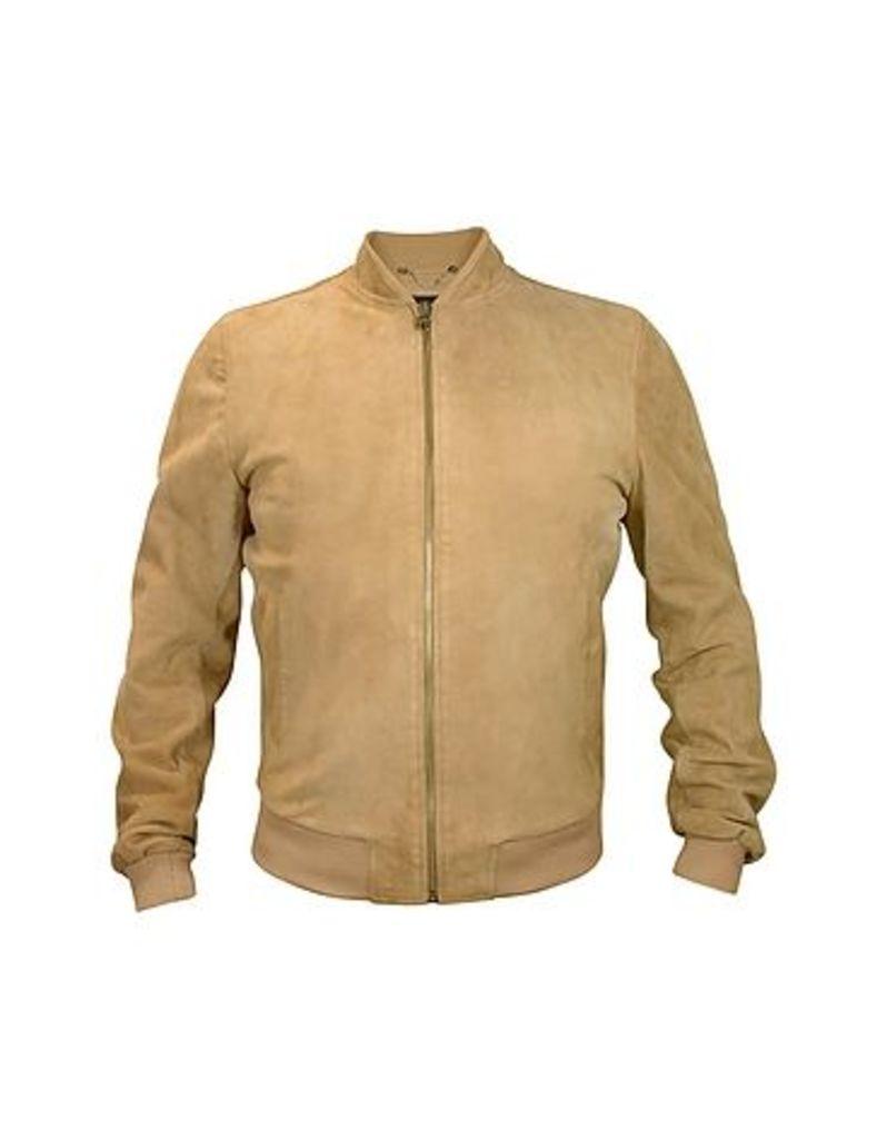 Forzieri - Men's Light Brown Suede Zip Jacket