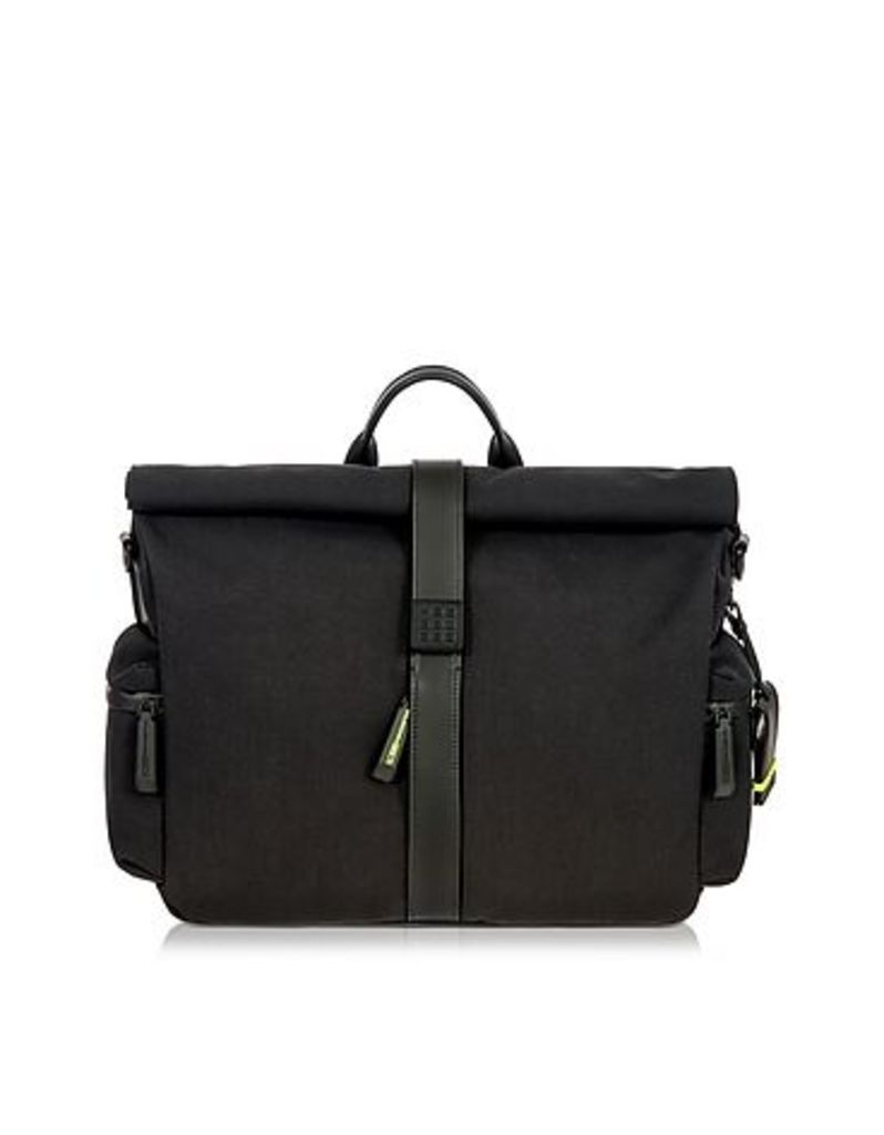 Bric's - Black Nylon and Leather Roll-Top Messenger