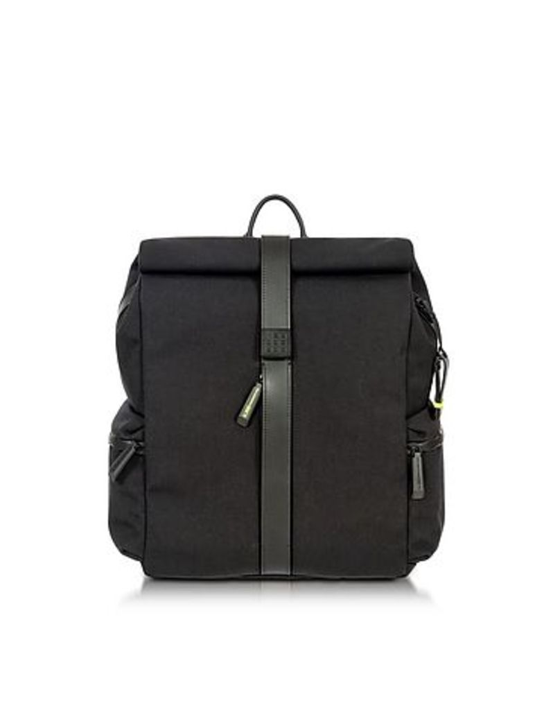 Bric's - Black Nylon and Leather Rolltop Backpack