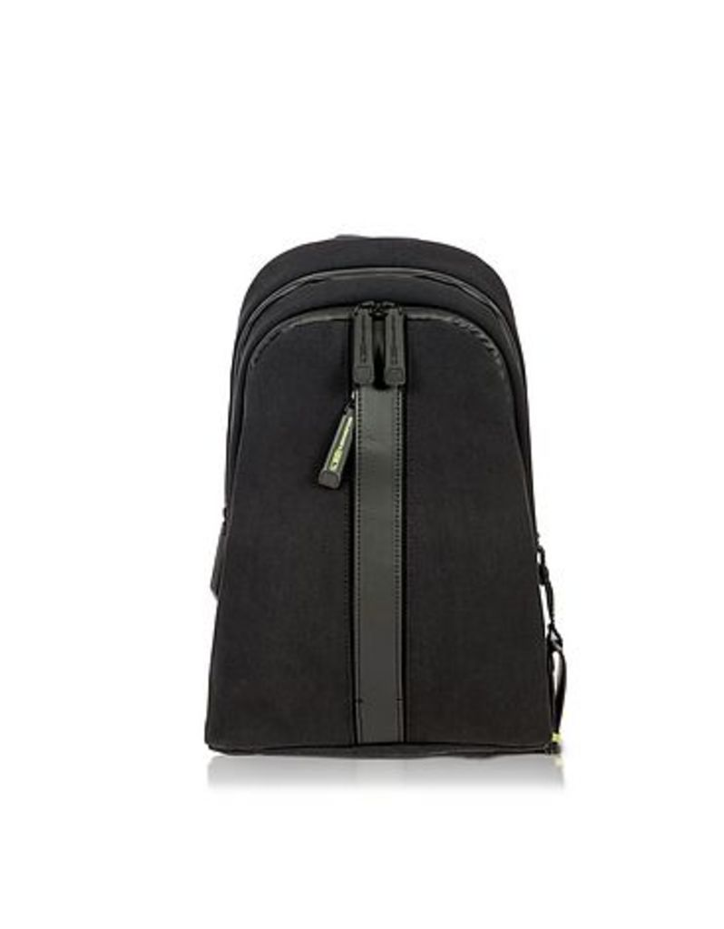 Bric's - Black Nylon and Leather Sling Backpack