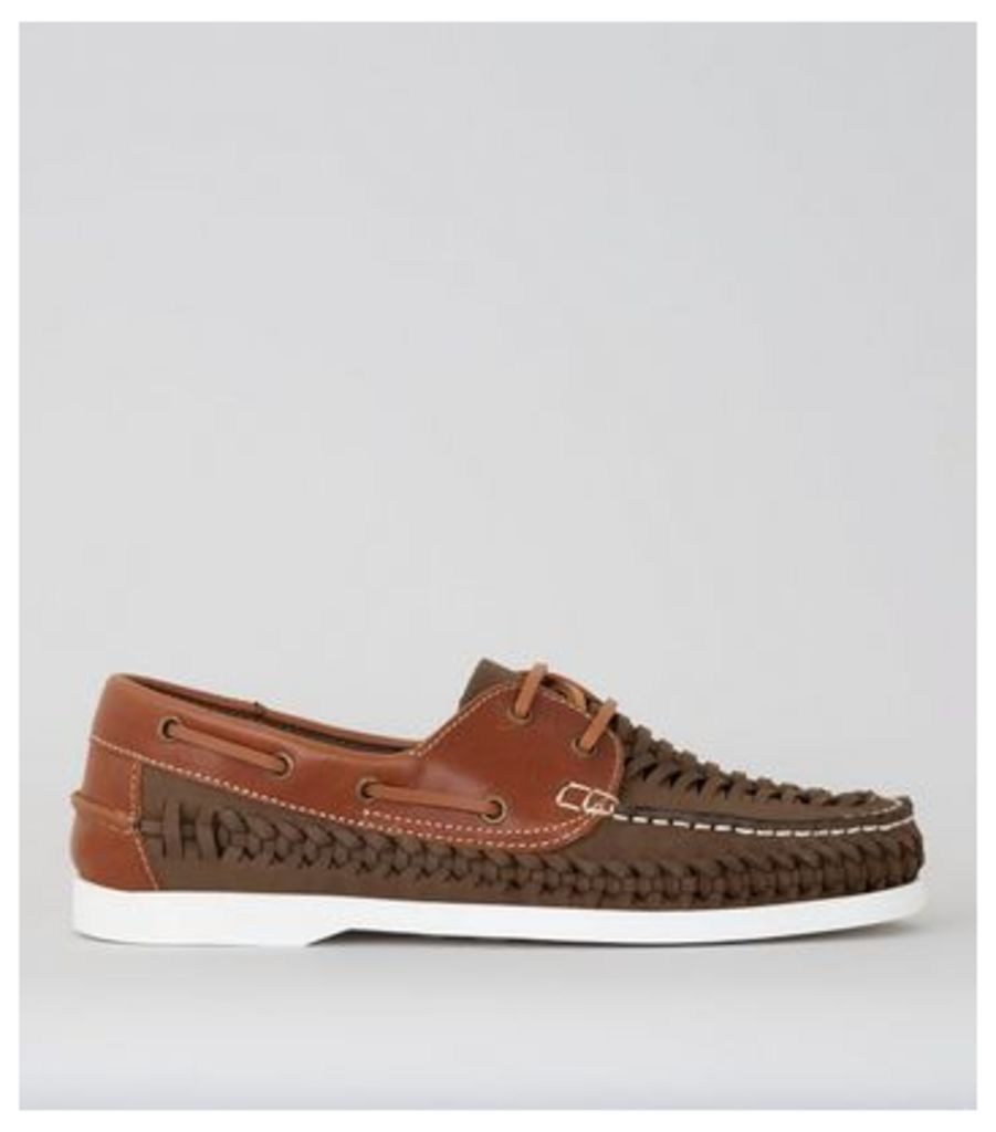 Brown Leather Woven Boat Shoes
