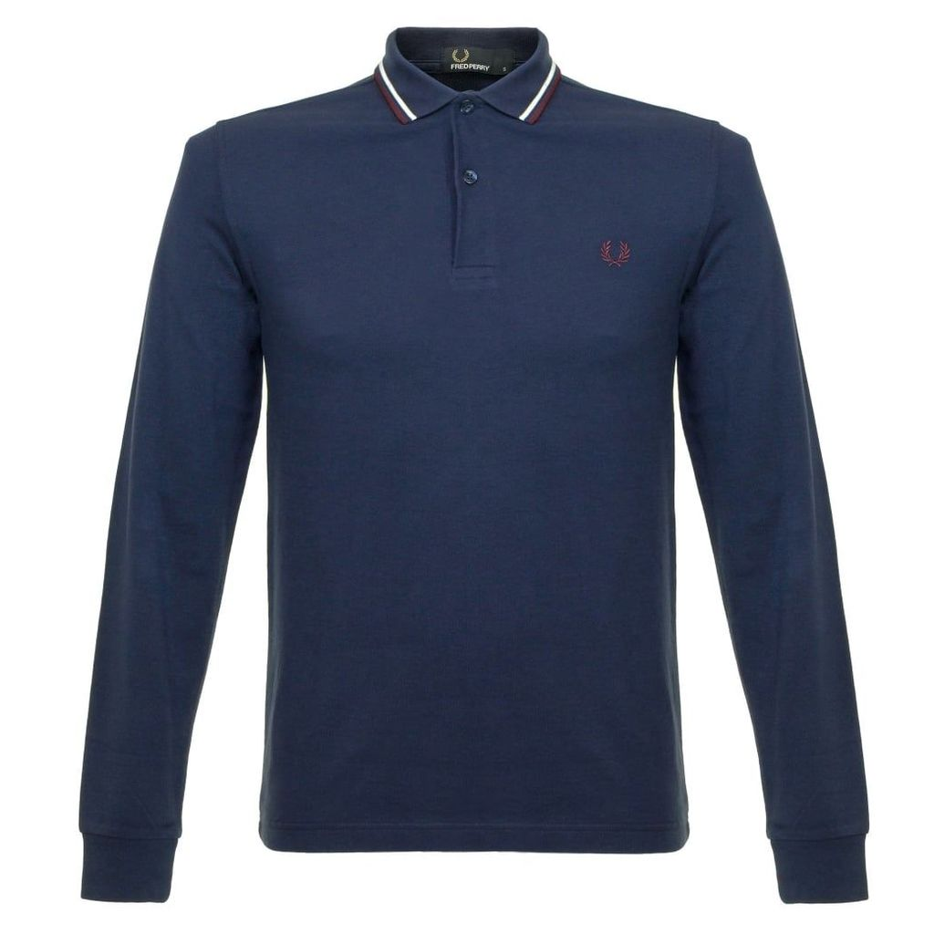 Fred Perry Twin Tipped LS Carbon Blue Polo Shirt M3636 266