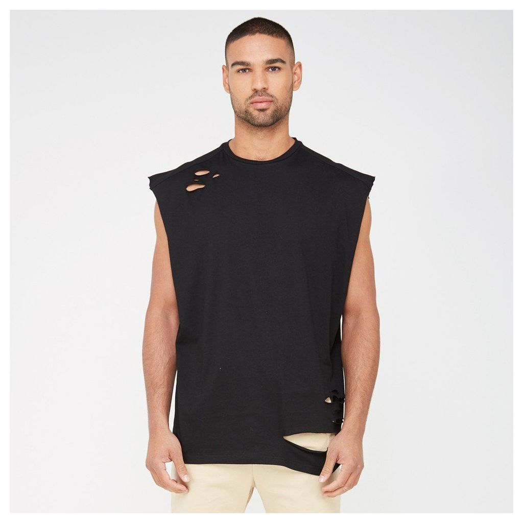 Cap Sleeve Vest with Distressing - Black