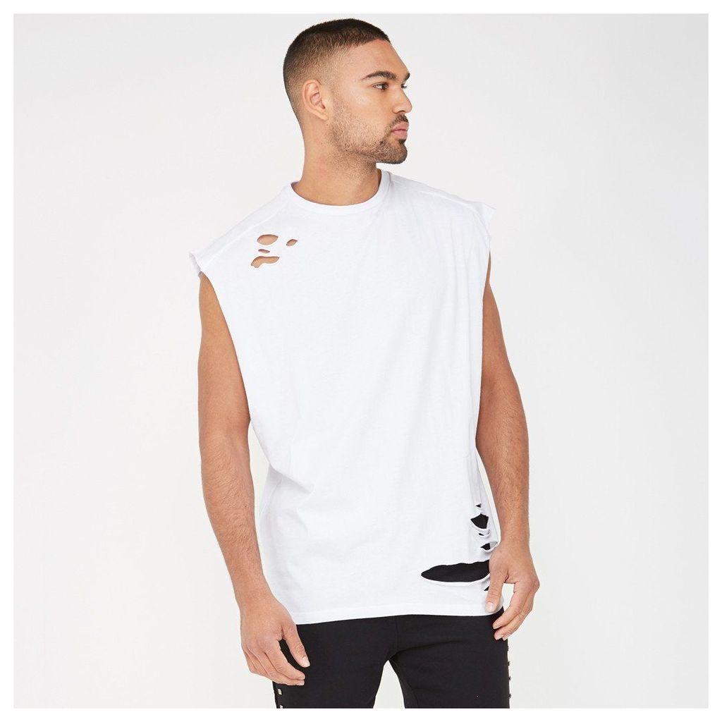 Cap Sleeve Distressed Vest - White