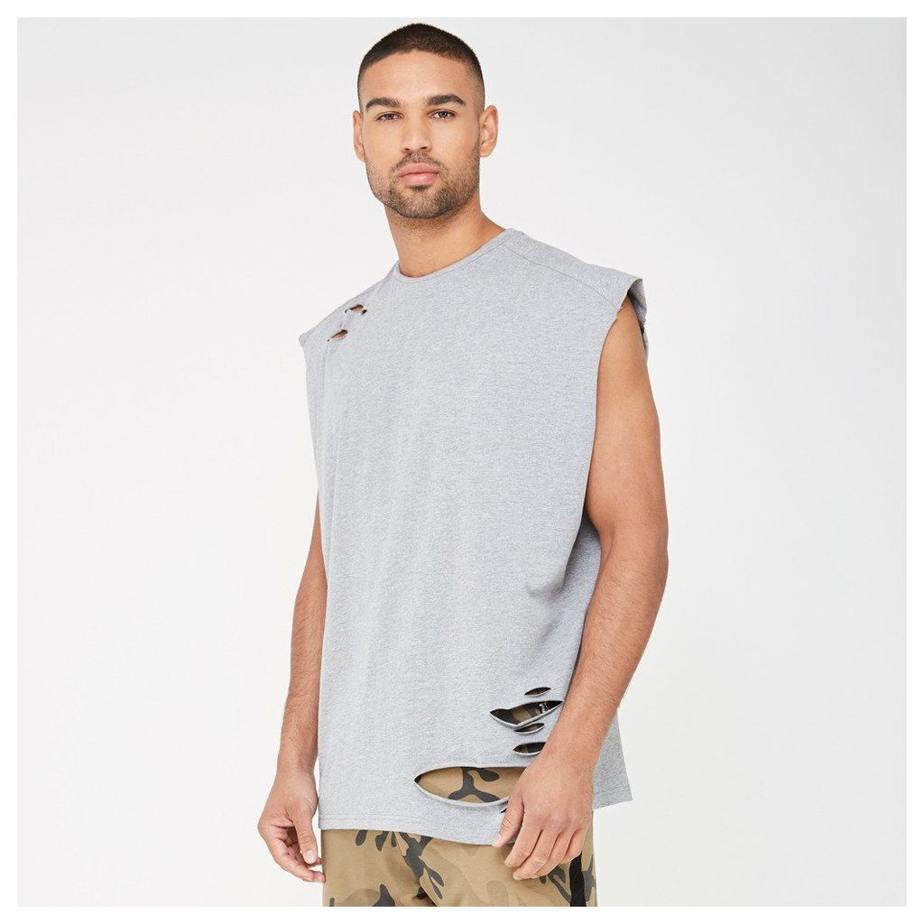 Cap Sleeve Vest with Distressing - Grey