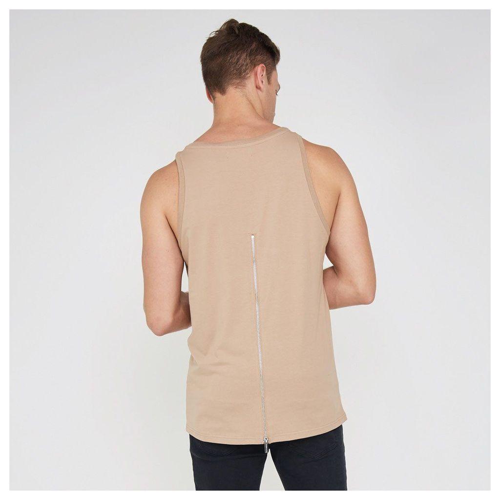Muscle Vest with Zip - Beige