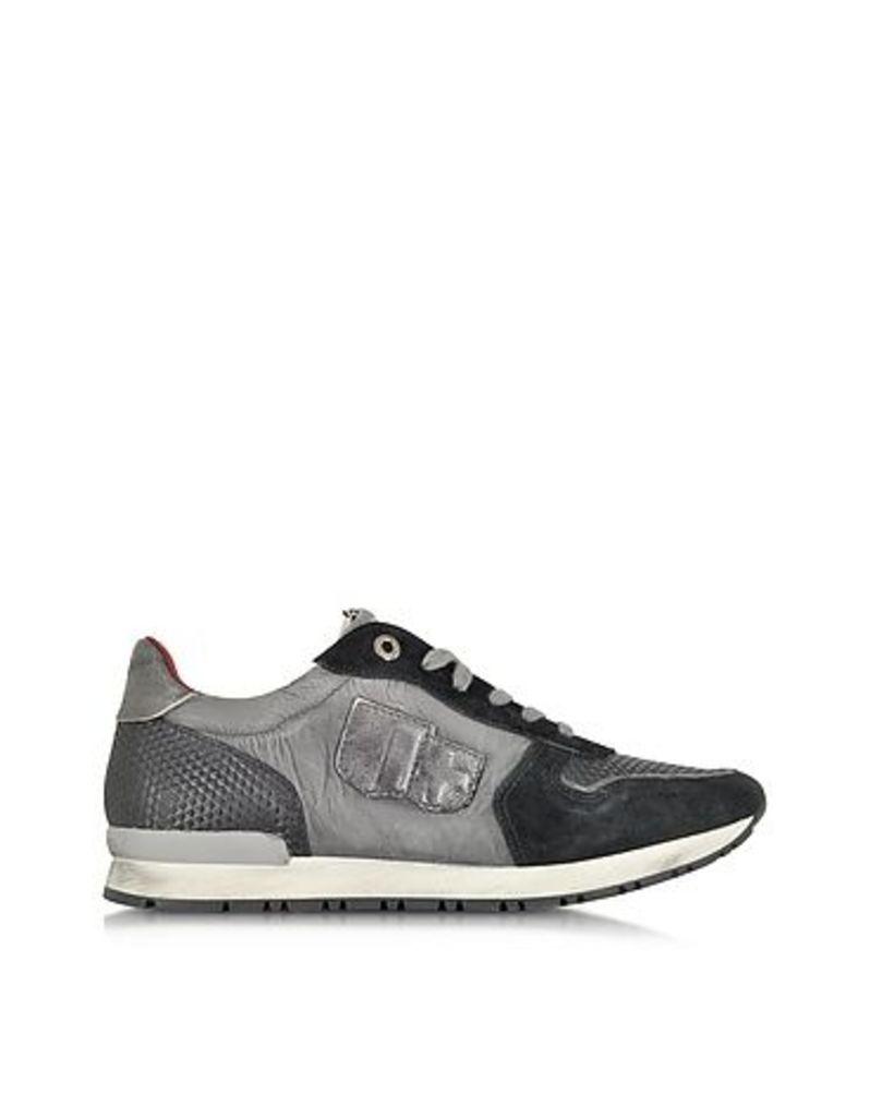 D'Acquasparta - Botticelli Gray Nylon and Black Suede Men's Sneaker