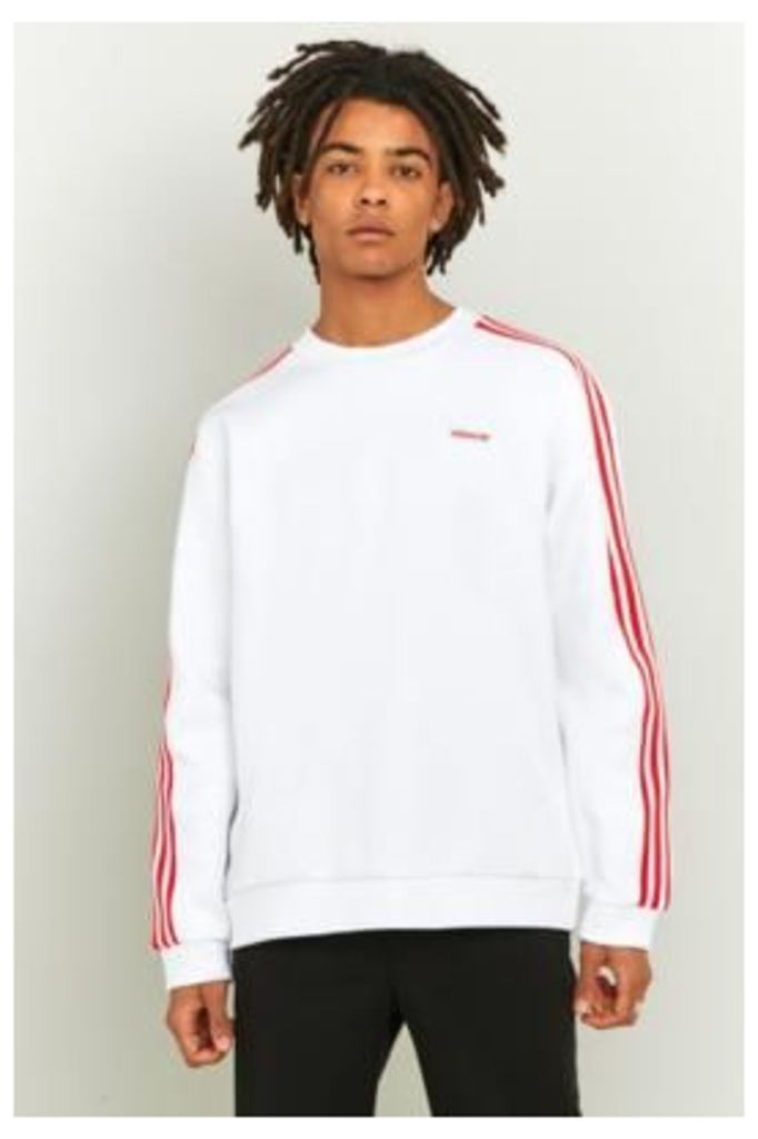 adidas White and Red MDN Crewneck Sweatshirt, WHITE