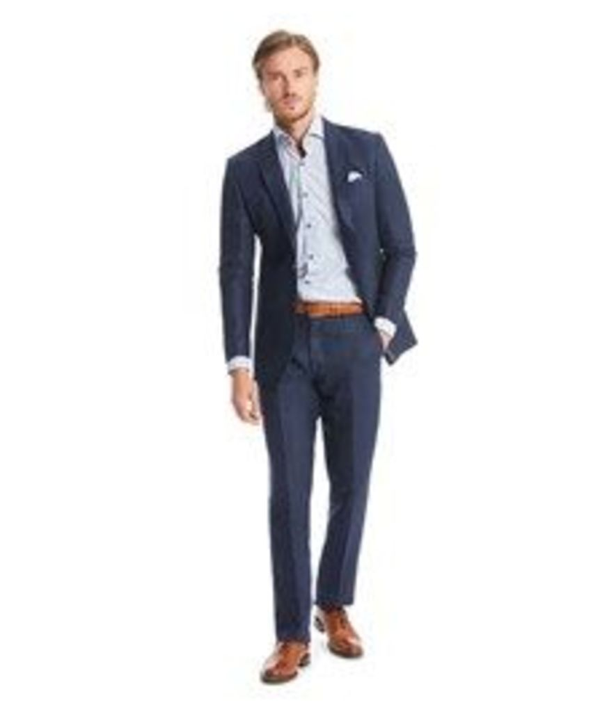 Men's Navy Herringbone Linen Tailored Fit Italian Suit - 1913 Collection