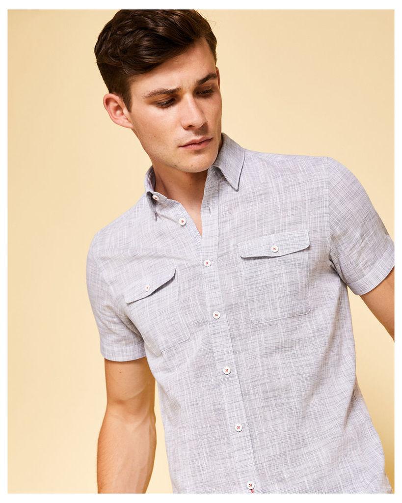 Ted Baker Textured linen short-sleeved shirt Grey