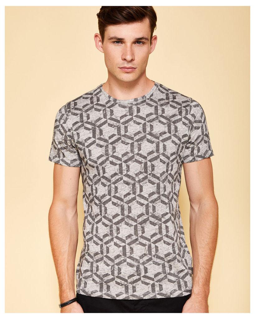 Ted Baker Geo print cotton T-shirt Grey