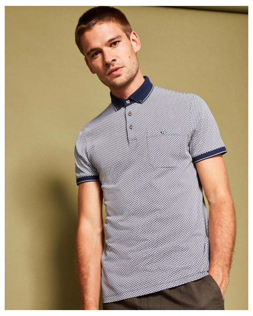 Ted Baker Geo print cotton polo shirt Navy